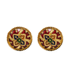 22K Yellow Gold Stud Earrings W/ Hand Painted Finish & Four Petal Flower Design