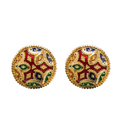 22K Yellow Gold Stud Earrings W/ Hand Painted Finish & Rounded Star Design