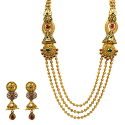 22K Yellow Gold Temple Necklace & Earrings Set W/ Rubies, Emeralds, Kundan, Geometric Accents & Draped Beaded Strands