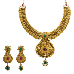 22K Yellow Gold Temple Necklace & Earrings Set W/ Rubies, Emeralds, Kundan, Mango Accents & Large Pear Shaped Pendants