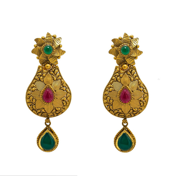 22K Yellow Gold Temple Necklace & Earrings Set W/ Rubies, Emeralds, Kundan, Mango Accents & Large Pear Shaped Pendants |  22K Yellow Gold Temple Necklace & Earrings Set W/ Rubies, Emeralds, Kundan, Mango Accents &a...