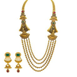 22K Yellow Gold Temple Necklace & Earrings Set W/ Emeralds, Rubies & Draped Beaded Strands