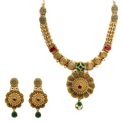 22K Yellow Gold Temple Necklace & Earrings Set W/ Rubies, Emeralds, Kundan & Stamen Flower Pendants