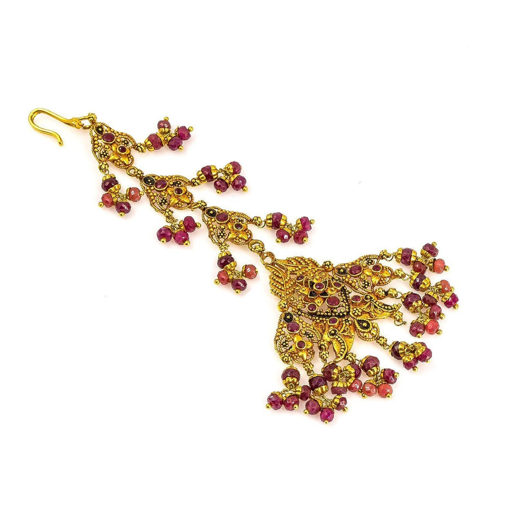 22K Yellow Gold Tikka W/ Precious Rubies Patterned on A Layered Fan Formation |  22K Yellow Gold Tikka W/ Precious Rubies Patterned on A Layered Fan Formation for women.  This e...