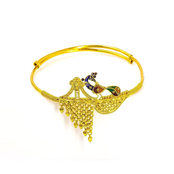 22K Yellow Gold Vanki Arm Bracelet W/ Asymmetric Meenakari Peacock Accent | 22K Yellow Gold Vanki Arm Bracelet W/ Asymmetric Meenakari Peacock Accent for women. This eye-cat...
