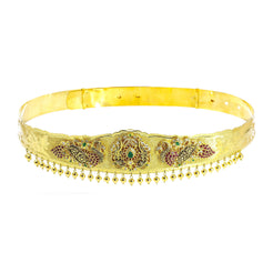 22K Yellow Gold Vaddanam Waist Belt W/ Rubies, CZ Gems, Emeralds, Lotus Flower & Peacocks