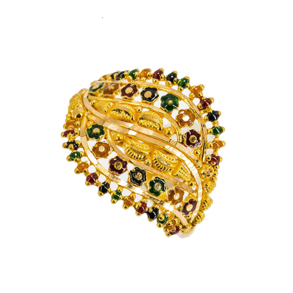 22K Yellow Gold Women's Enamel Ring W/ Side Swept Flower Accents | Be elegant and bright with this elegantly designed 22K yellow gold enamel women's ring from Viran...