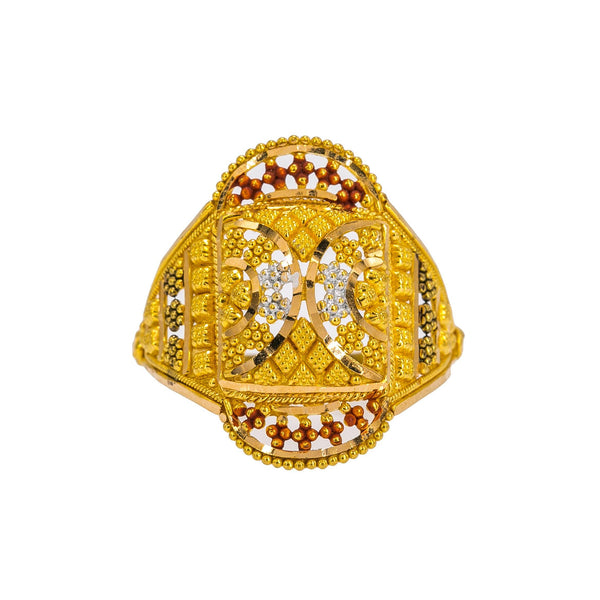 22K Yellow Gold Women's Ring W/ Beaded Filigree, Meenakari Details & Crowned Accents | Enhance your look with the subtle colors of 22K yellow gold women's ring from Virani Jewelers! Fe...