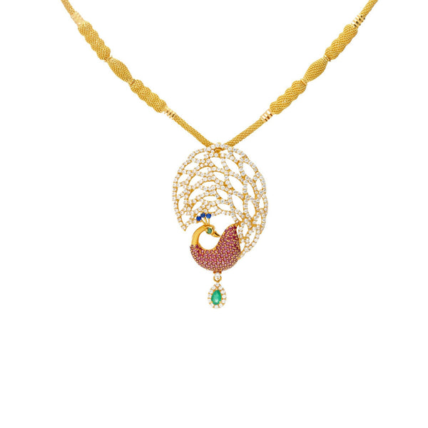 22K Yellow Gold & Gemstone Divine Peacock Set |  The 22K Yellow & Gemstone Asha Pecock Set from Virani Jewelers is perfect jewelery set for y...