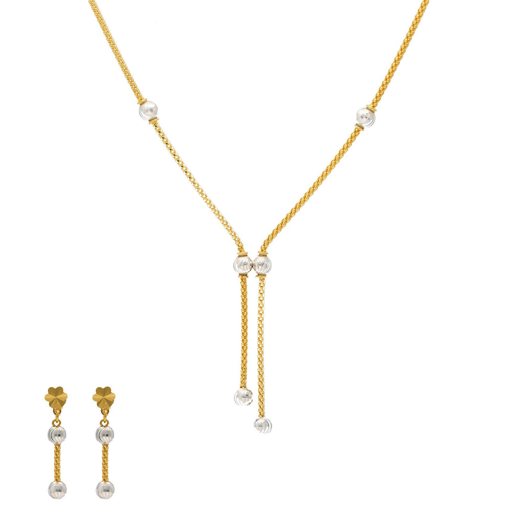 22K Yellow & White Gold Perla Jewelry Set |  The 22K Yellow and White Gold Perla Jewelry Set from Virani Jewelers will bring life to any outf...