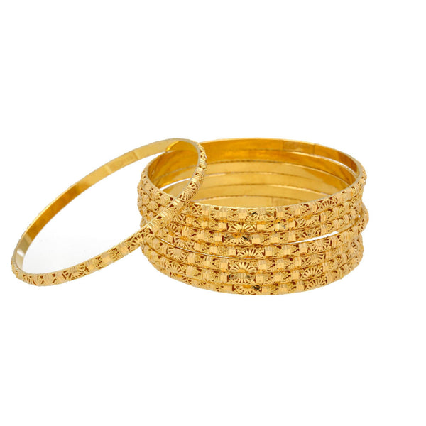 22K Gold Bangles Set of Twelve, 136gm |    These lovely set of 12 pieces 22K yellow gold bangles are perfect for wearing to the an event ...