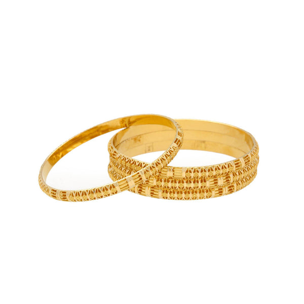 22K Gold Bangles Set of Four, 42.7gm - Virani Jewelers |    Exuding timeless charm and grace, this pair of 22K gold bangles is suited to complement all tr...