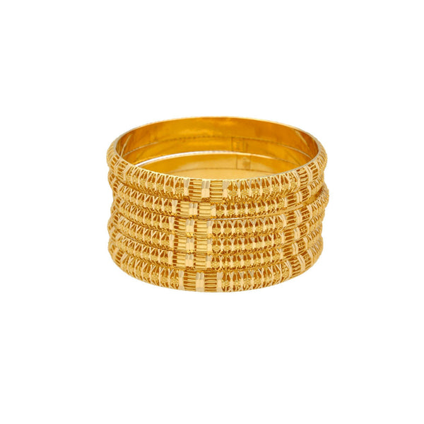 22K Gold Bagles Set of Six, 70gm |    With the perfect balance of gold of this 22K yellow gold bangles you will goes light on your p...
