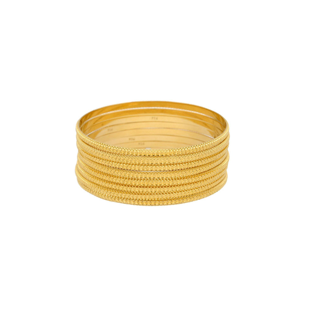 22K Gold Bangles Set of Eight, 87.8gm |    Enjoy the instant touches of luxury from this set of eight 22K yellow gold bangles from Virani...