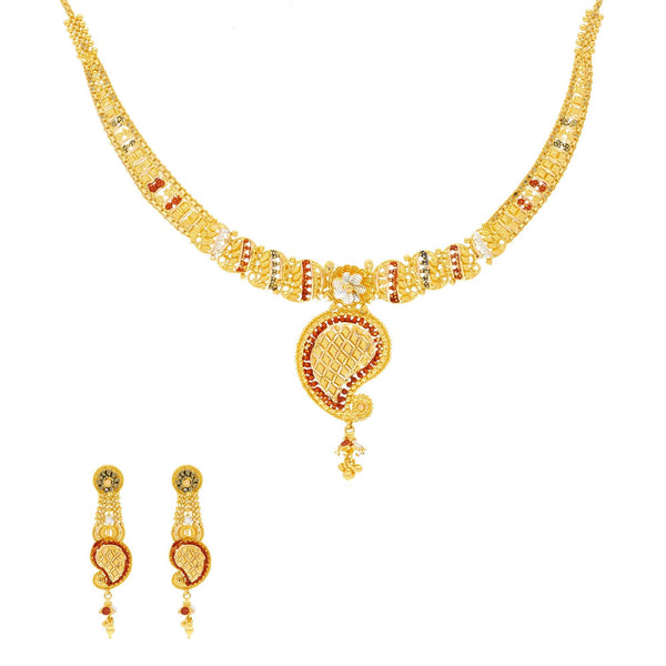 22K Yellow Gold Meenakari Necklace & Earring Set W/ Mango Shaped Pendant - Virani Jewelers | Show off your stunning sense of style with this beautiful 22K gold necklace set from Virani Jewel...