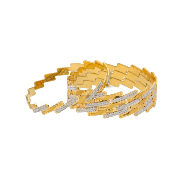 22K Gold Multi Tone Set of Four Bangles, 93.1gm |    Looking for simple and elegant gold bangle designs that can complement your regular and party ...
