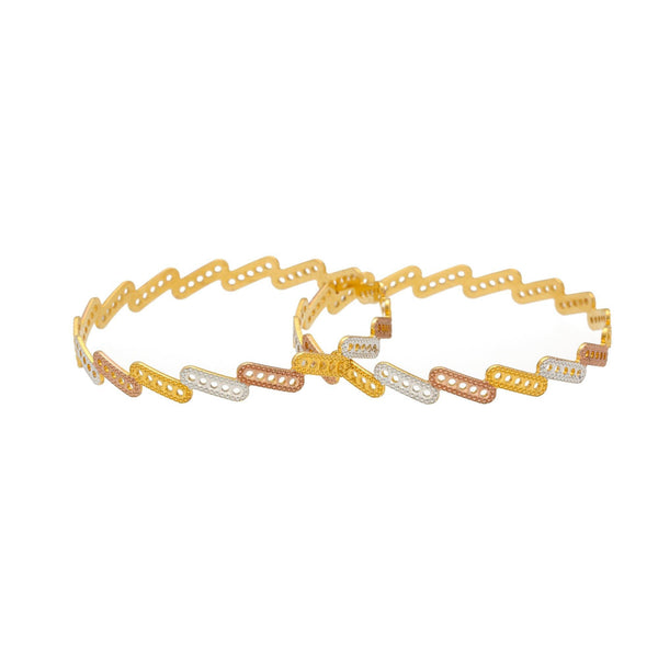 22K Gold Multi Tone Set of Two Bangles, 32.5gm |    Put a fresh and modern spin to your everyday look with this set of two 22K multi tone gold ban...