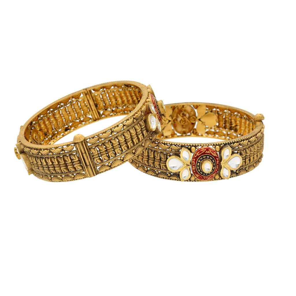 22K Gold Antique Bangles W/ Kundan, 65gm - Virani Jewelers |    If nature-inspired designs fascinate you, then this 22K antique gold bangle is surely going to...