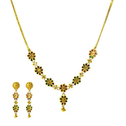 22K Yellow Gold Necklace and Earrings Set W/ Multi-Color Enamel Flower Charms