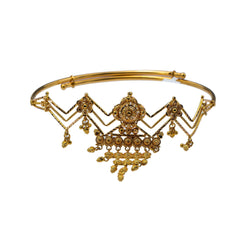 22K Yellow Gold Adjustable Arm Vanki W/ Abstract Design