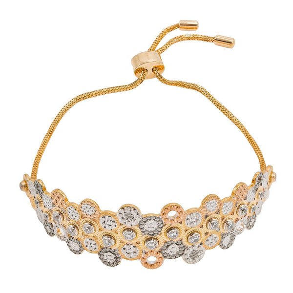 22K Multi Tone Gold Bracelet W/ Clock Mechanism Design & Drawstring Closure | Be as unique as you are stylish in this stunning 22K multi tone gold women's bracelet from Virani...