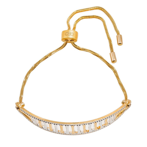 22K Multi Tone Gold Bangle Bracelet W/ Open Column Design & Drawstring Design |  22K Multi Tone Gold Bangle Bracelet W/ Open Column Design & Drawstring Design for women. Thi...