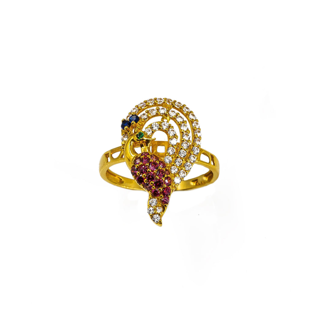 22K Yellow Gold Peacock Ring W/ CZ Gems on Arched Train Feathers & Cut-Out Band |  22K Yellow Gold Peacock Ring W/ CZ Gems on Arched Train Feathers & Cut-Out Band for women. T...