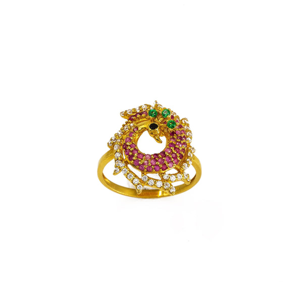22K Yellow Gold Peacock Ring W/ Colored CZ Encrusted Circlet Body & Spread Train | 22K Yellow Gold Peacock Ring W/ Colored CZ Encrusted Circlet Body & Spread Train for women. T...