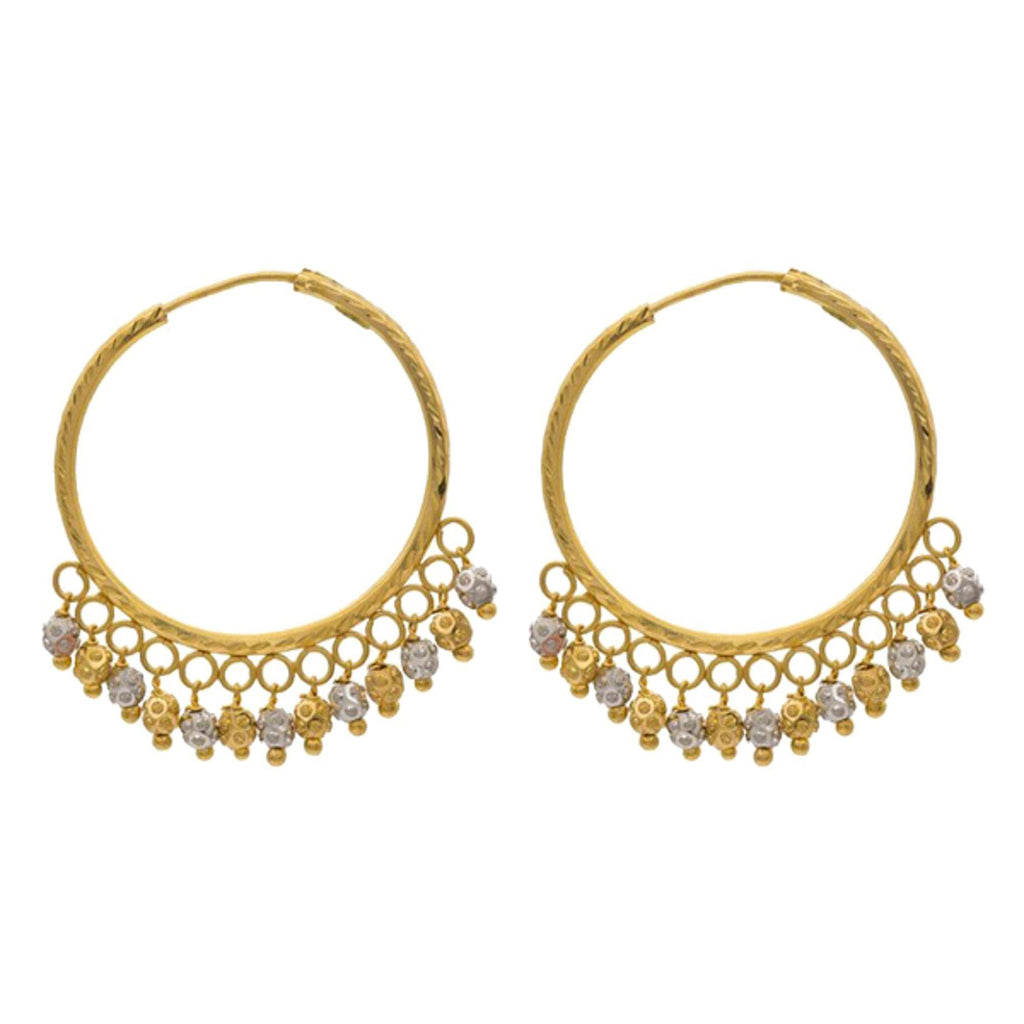 22K Multitone Gold Bali Earring | Excellent bali earrings crafted in 22k gold. It show off your trendsetting style when you wear th...