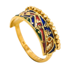 22K Yellow Gold Enamel Ring W/ Abstract Mountain Range Design