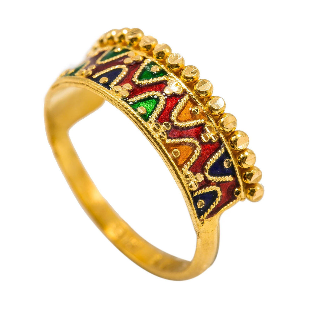 22K Yellow Gold Enamel Ring W/ Double Curve Details | 22K Yellow Gold Enamel Ring W/ Double Curve Details for women. Brighten your daily attire with th...