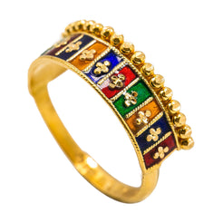 22K Yellow Gold Enamel Ring W/ Horizontal Square Pattern