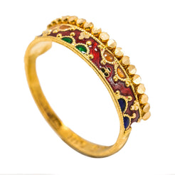 22K Yellow Gold Enamel Ring W/ Patterned Scallop Details