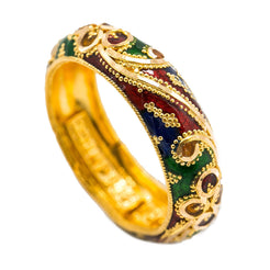 22K Yellow Gold Enamel Ring W/ Domed Band Design, 6.5 Grams