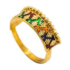 22K Yellow Gold Enamel Ring W/ Alternating Cluster Ball Design
