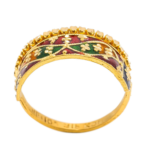 22K Yellow Gold Enamel Ring W/ Crown Design & Mirror Wing Details | 22K Yellow Gold Enamel Ring W/ Crown Design & Mirror Wing Details for women. This beautiful 2...