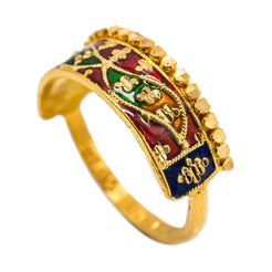 22K Yellow Gold Enamel Ring W/ Crown Design & Mirror Wing Details