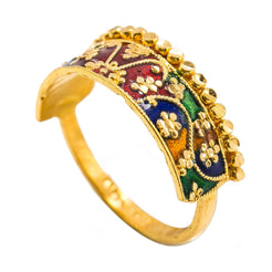 22K Yellow Gold Enamel Ring W/ Crown Design & Cluster Dot Accents