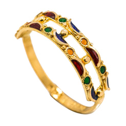 22K Yellow Gold Enamel Ring W/ Open Shank & Gold Ball Accents