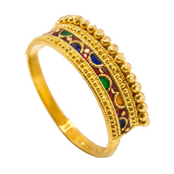 22K Yellow Gold Enamel Ring W/ Crown Design & Gold Ball Linings