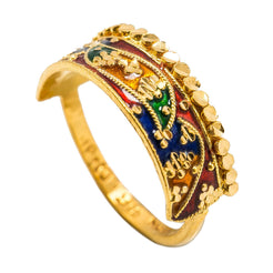 22K Yellow Gold Enamel Ring W/ Crown Design & Curved Rope Details