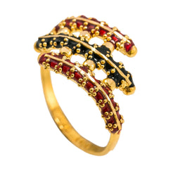 22K Yellow Gold Enamel Ring W/ Three Prong Crossover Design