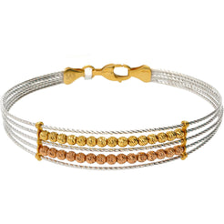22K Gold Trifecta Beaded Bangle