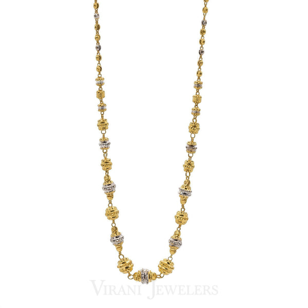 22K Multitone Gold Chain | Women's short tassel chain necklace, crafted in 22 karat two-tone gold with fancy beads. The gold...