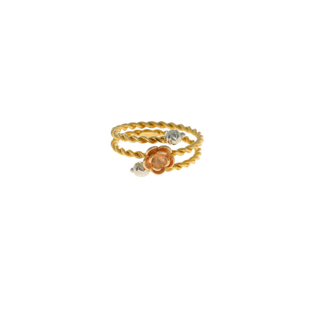 22K Multi Tone Gold Spiral Ring W/ Floral Decals - Virani Jewelers |    Add a feminine touch of gold to beautify your look with this 22K multi tone gold spiral ring f...