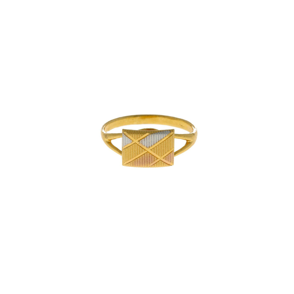 22K Multi Tone Gold Ring W/ Detailed Square Accent Plate |    Discover the brilliance of white, yellow and rose gold with unique jewelry such as this 22K mu...