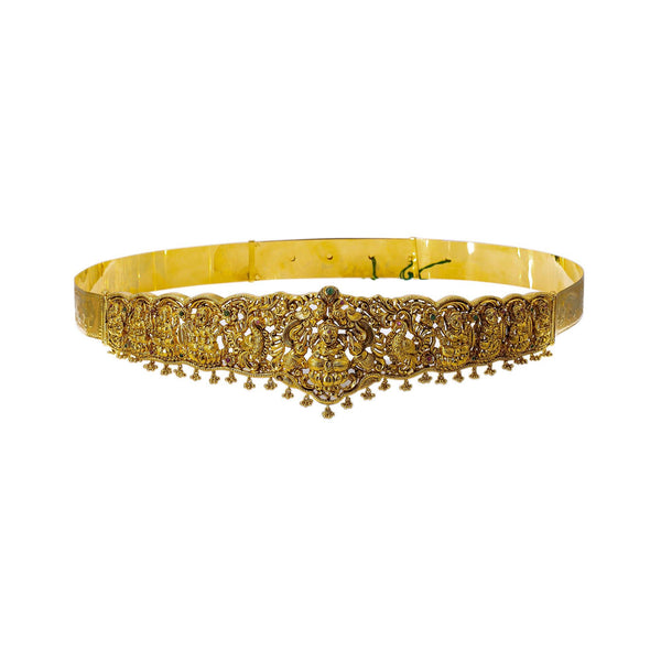 A frontal view of the 22K Laxmi vaddanam waist belt from Virani Jewelers. | Add movement and luxury to your most festive looks with Vaddanam waist belts that will transform ...