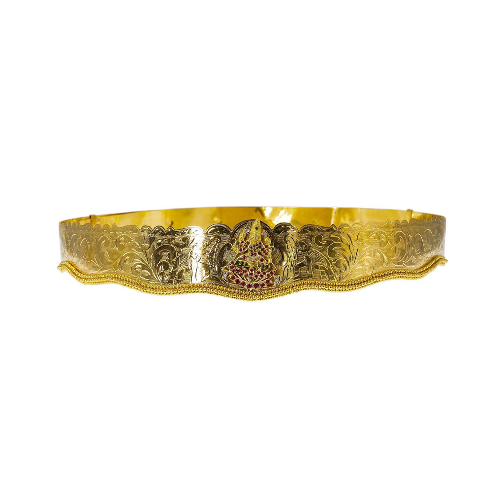 22K Yellow Gold Laxmi Vaddanam Waist Belt W/ Emeralds, Rubies, CZ Gems & Adjustable Belt | Add movement and luxury to your most festive looks with Vaddanam waist belts that will transform ...
