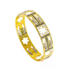 "22K Yellow Gold Bangle W/ Cloud Cut-Outs & Black CZ Encrusted ""H"" Design"