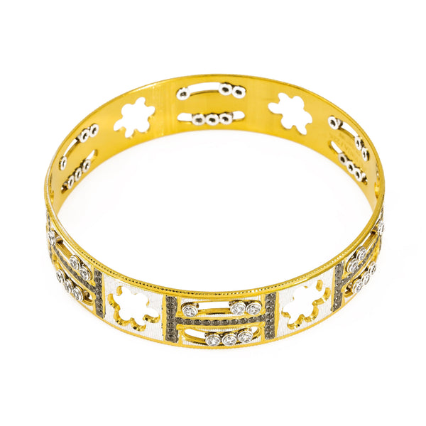"22K Yellow Gold Bangle W/ Cloud Cut-Outs & Black CZ Encrusted ""H"" Design 